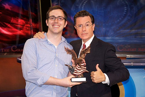 Stephen Colbert awards Michael Nutt prize